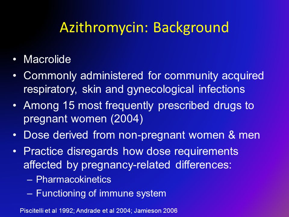 Azithromycin: Background Macrolide Commonly administered for community acquired respiratory, skin and gynecological infections Among 15 most frequently prescribed drugs to pregnant women (2004) Dose derived from non-pregnant women & men Practice disregards how dose requirements affected by pregnancy-related differences: –Pharmacokinetics –Functioning of immune system Piscitelli et al 1992; Andrade et al 2004; Jamieson 2006