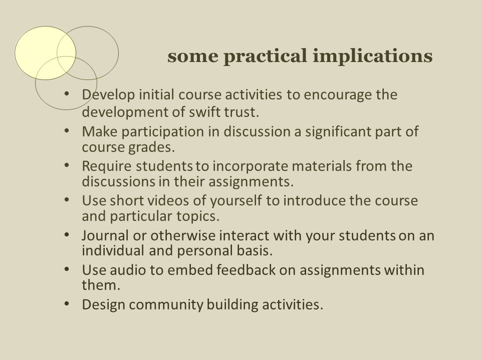 some practical implications Develop initial course activities to encourage the development of swift trust.