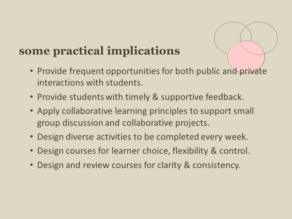 some practical implications Provide frequent opportunities for both public and private interactions with students.