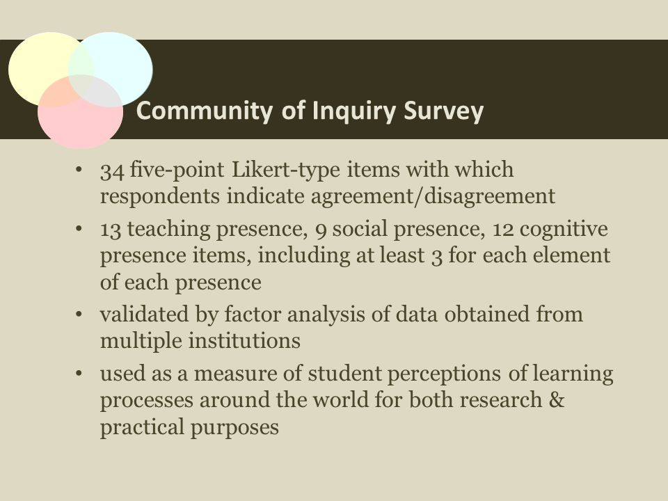 Community of Inquiry Survey 34 five-point Likert-type items with which respondents indicate agreement/disagreement 13 teaching presence, 9 social presence, 12 cognitive presence items, including at least 3 for each element of each presence validated by factor analysis of data obtained from multiple institutions used as a measure of student perceptions of learning processes around the world for both research & practical purposes