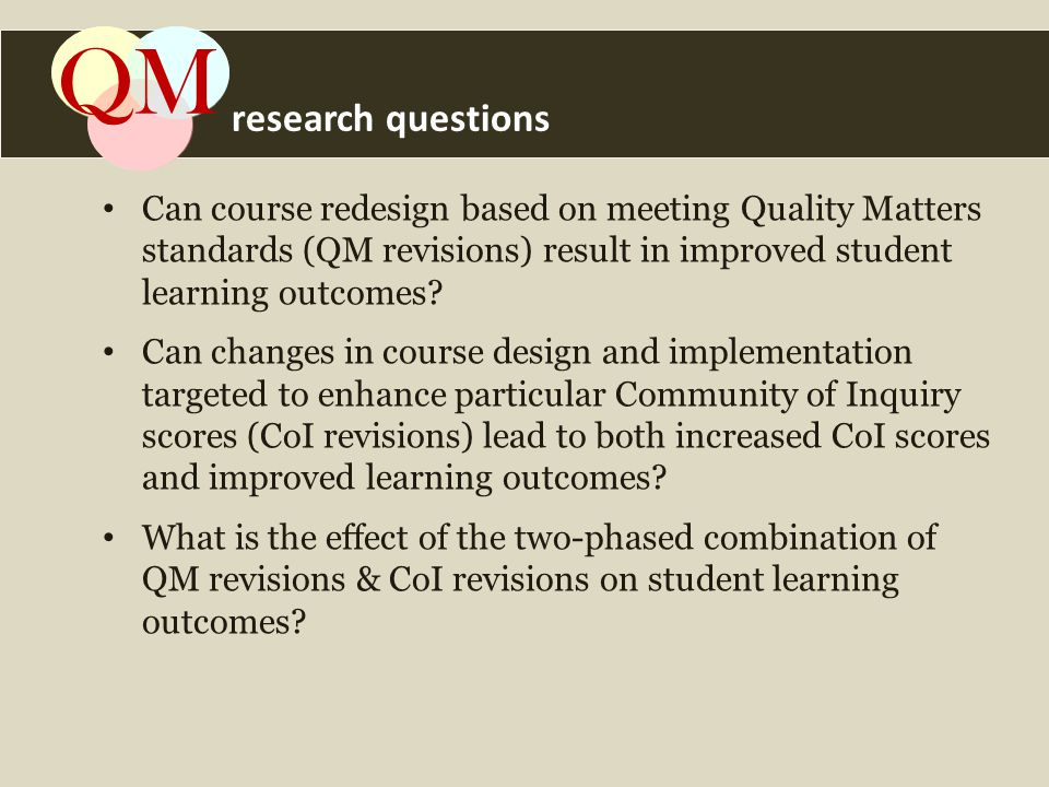 Can course redesign based on meeting Quality Matters standards (QM revisions) result in improved student learning outcomes.