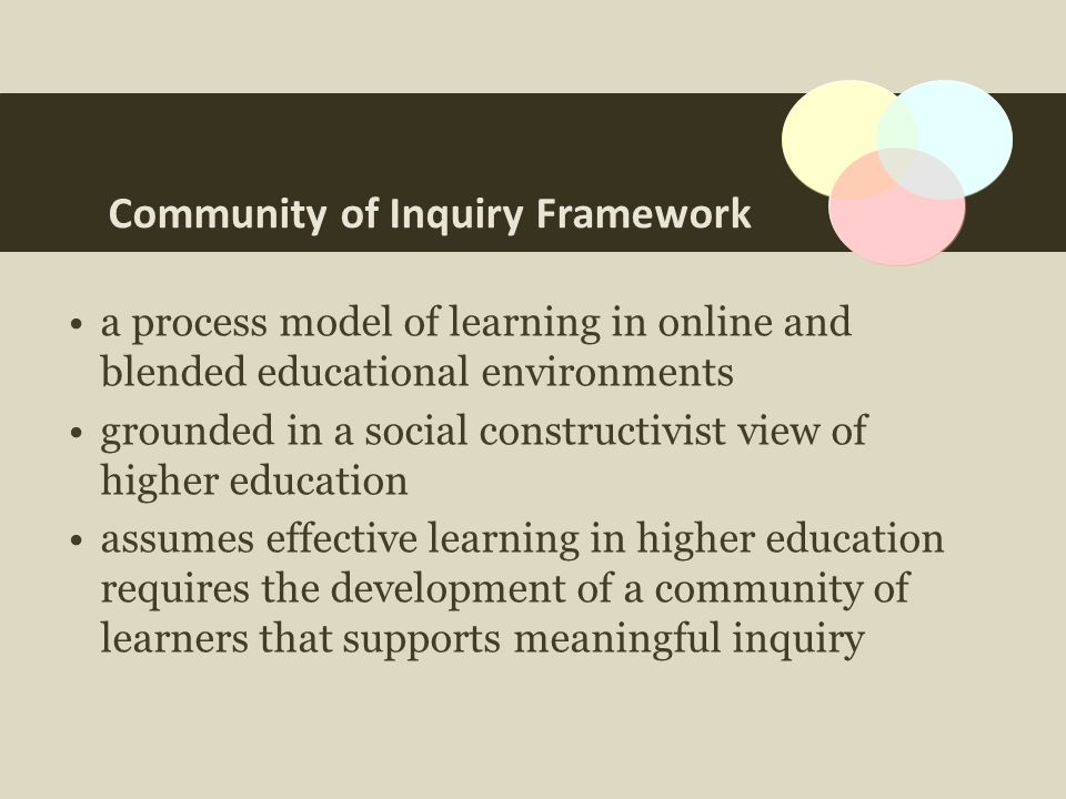 Community of Inquiry Framework a process model of learning in online and blended educational environments grounded in a social constructivist view of higher education assumes effective learning in higher education requires the development of a community of learners that supports meaningful inquiry