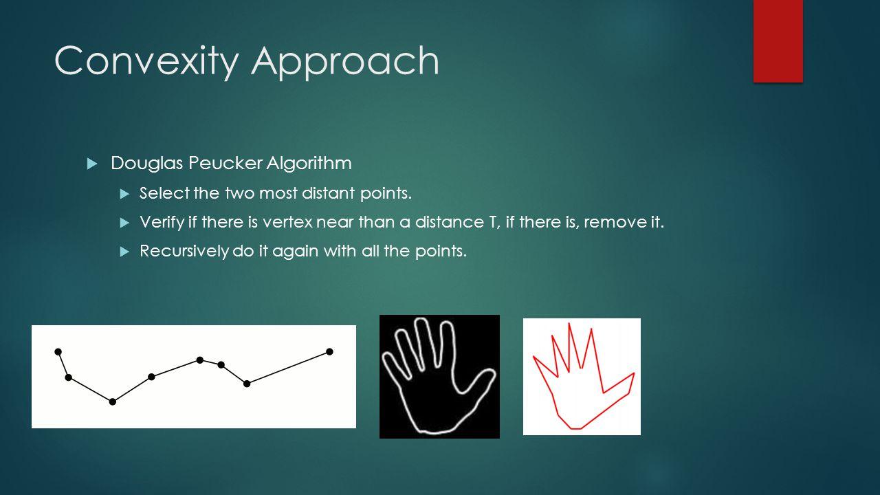 Convexity Approach  Douglas Peucker Algorithm  Select the two most distant points.