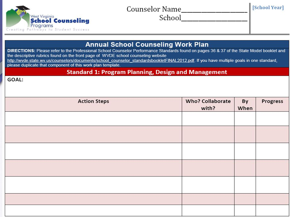 Self Reflection includes assessing program completeness to guide setting annual program growth goals.