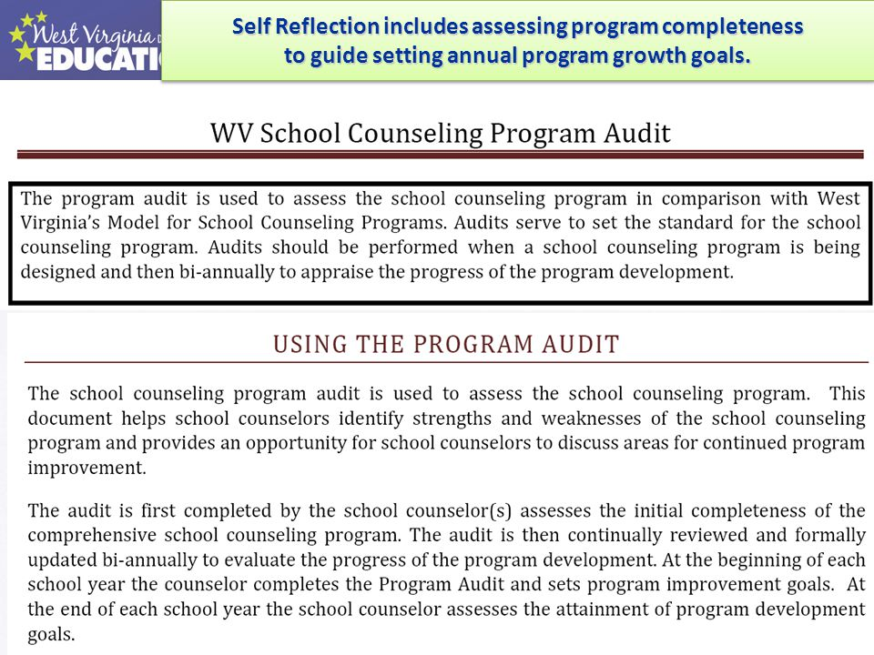 WVBE Policy 5310: As per WVBE Policy 5310: Performance Evaluation of School Personnel School Personnel… School Counselors are under the new evaluation system This guide details the evaluation components and process.