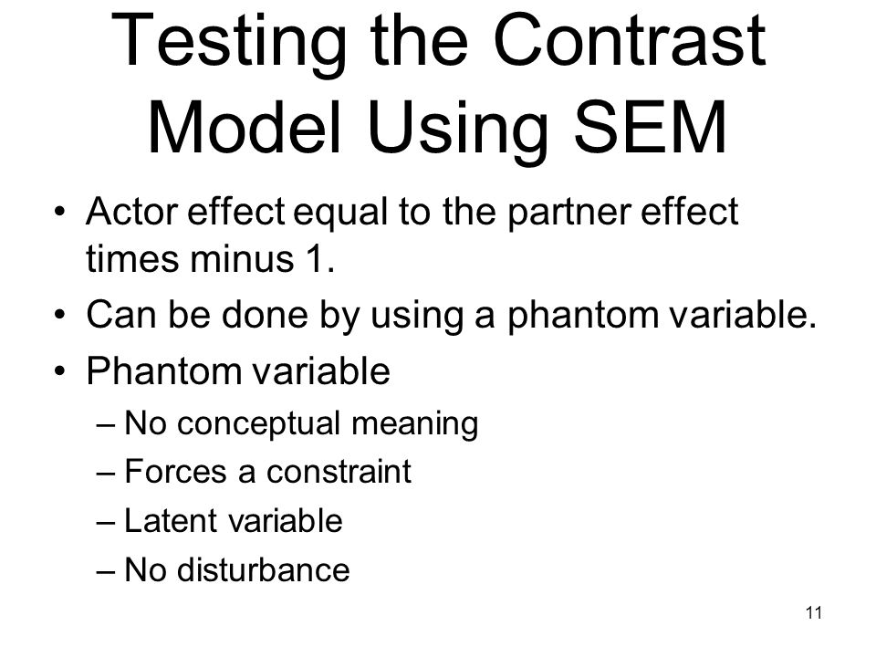 Testing the Contrast Model Using SEM Actor effect equal to the partner effect times minus 1.