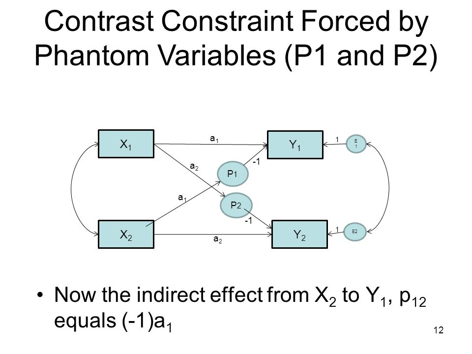 X1X1 X2X2 Y1Y1 Y2Y2 E1E1 E2 1 1 a1a1 a2a2 P1P1 a1a1 P2P2 a2a2 Contrast Constraint Forced by Phantom Variables (P1 and P2) Now the indirect effect from X 2 to Y 1, p 12 equals (-1)a 1 12