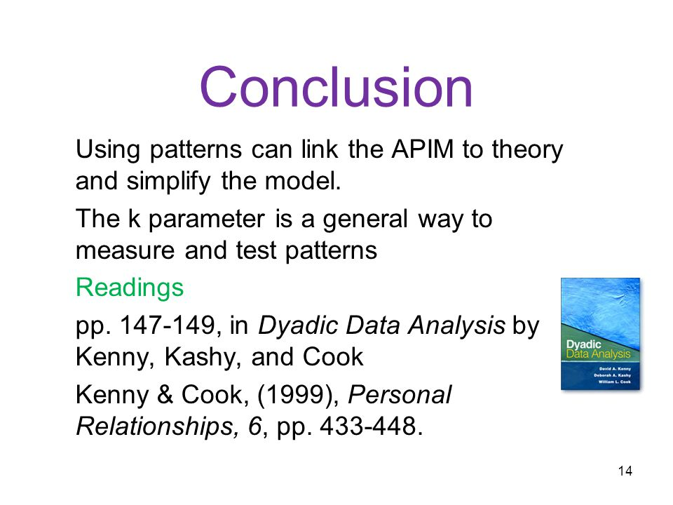 Conclusion Using patterns can link the APIM to theory and simplify the model.