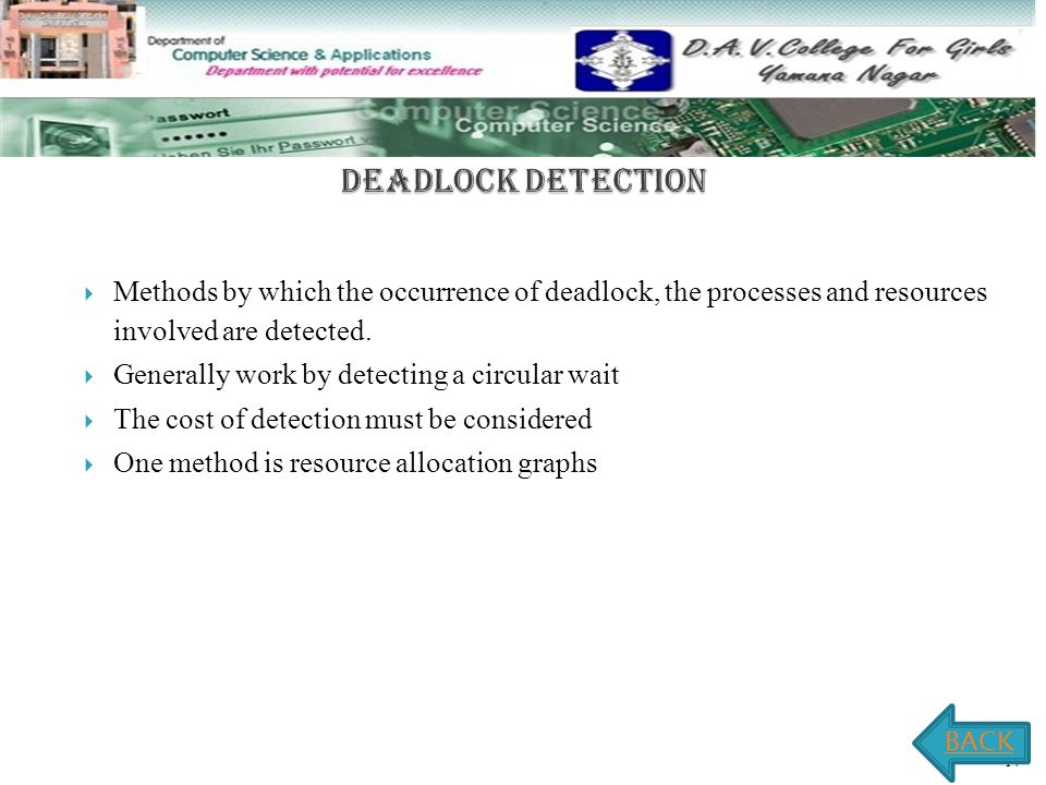 2.4 -14  Methods by which the occurrence of deadlock, the processes and resources involved are detected.