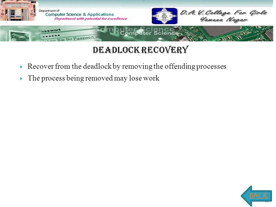 2.4 -15  Recover from the deadlock by removing the offending processes  The process being removed may lose work BACK