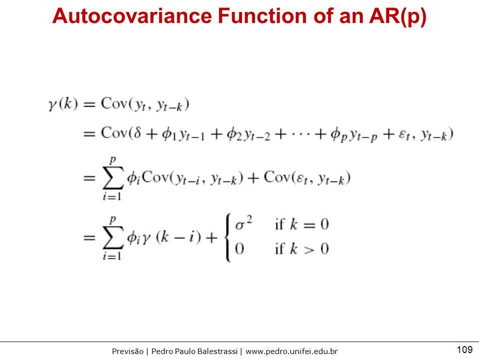 109 Previsão | Pedro Paulo Balestrassi | www.pedro.unifei.edu.br Autocovariance Function of an AR(p)