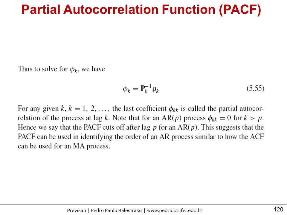 120 Previsão | Pedro Paulo Balestrassi | www.pedro.unifei.edu.br Partial Autocorrelation Function (PACF)