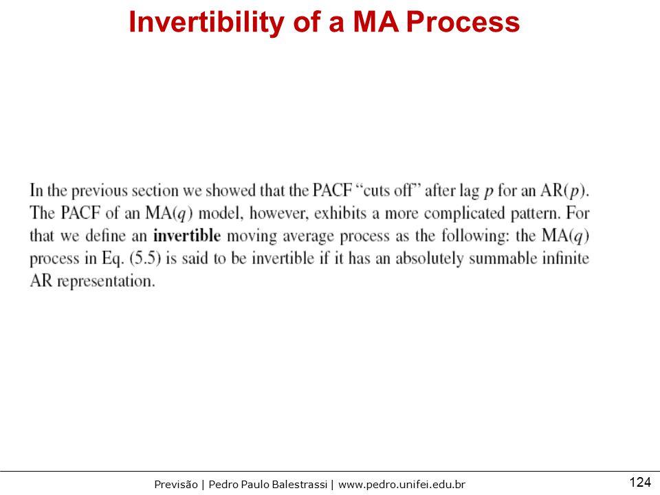 124 Previsão | Pedro Paulo Balestrassi | www.pedro.unifei.edu.br Invertibility of a MA Process