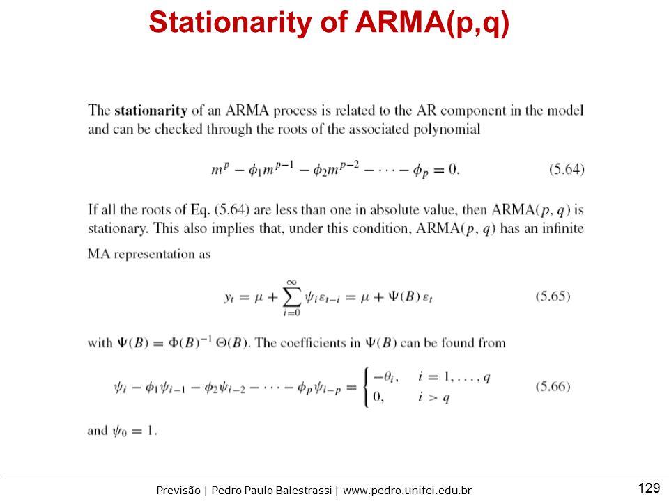 129 Previsão | Pedro Paulo Balestrassi | www.pedro.unifei.edu.br Stationarity of ARMA(p,q)