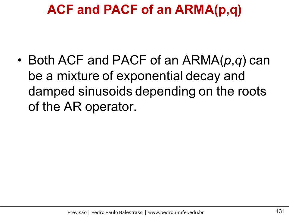 131 Previsão | Pedro Paulo Balestrassi | www.pedro.unifei.edu.br ACF and PACF of an ARMA(p,q) Both ACF and PACF of an ARMA(p,q) can be a mixture of ex