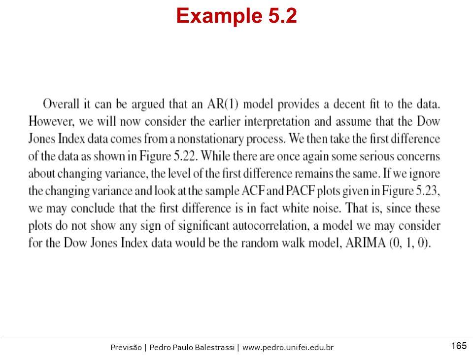 165 Previsão | Pedro Paulo Balestrassi | www.pedro.unifei.edu.br Example 5.2