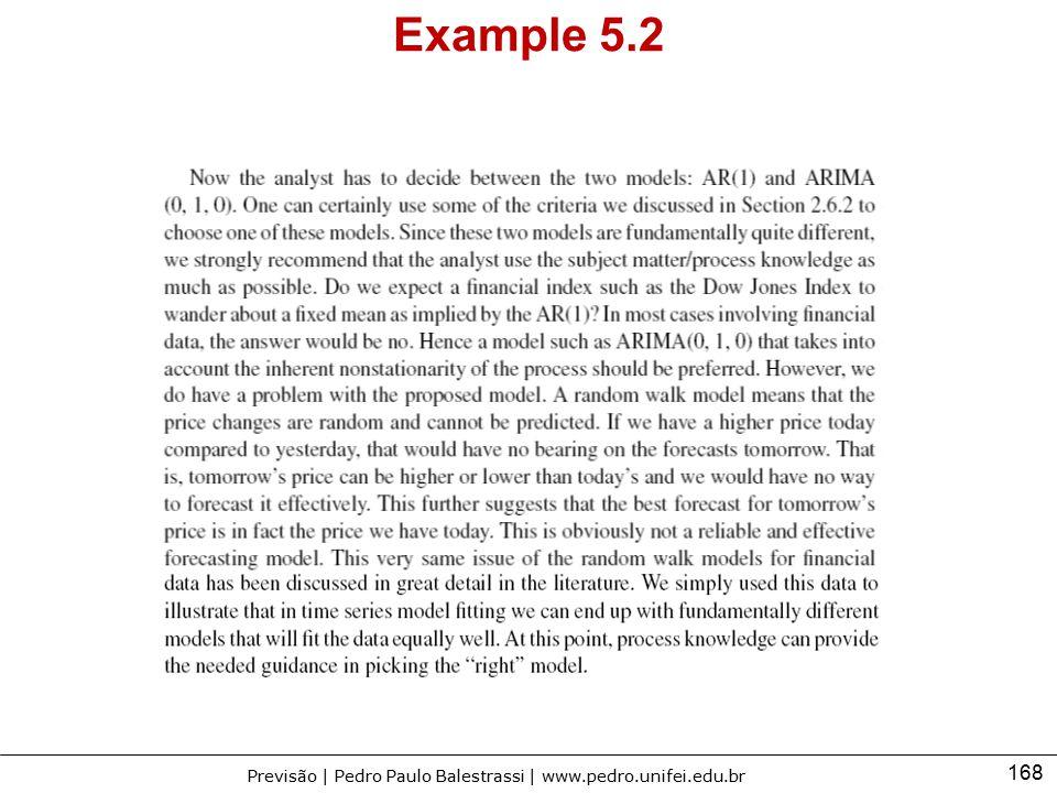168 Previsão | Pedro Paulo Balestrassi | www.pedro.unifei.edu.br Example 5.2