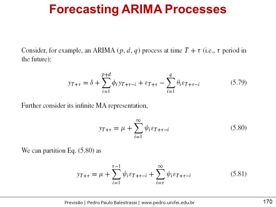170 Previsão | Pedro Paulo Balestrassi | www.pedro.unifei.edu.br Forecasting ARIMA Processes