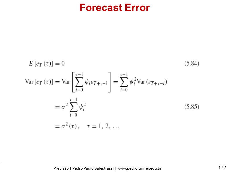 172 Previsão | Pedro Paulo Balestrassi | www.pedro.unifei.edu.br Forecast Error