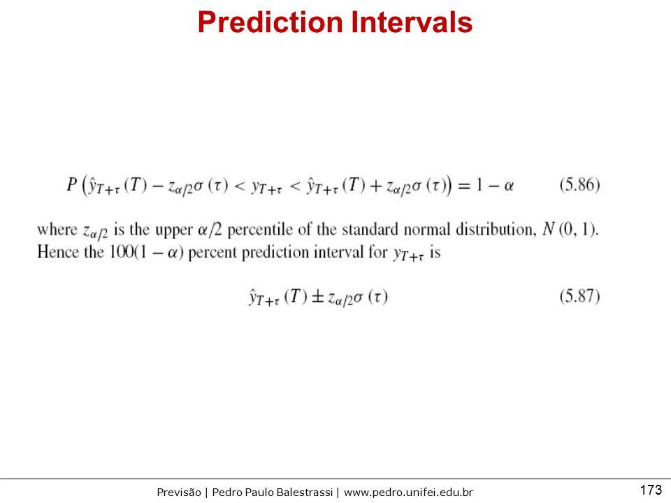 173 Previsão | Pedro Paulo Balestrassi | www.pedro.unifei.edu.br Prediction Intervals