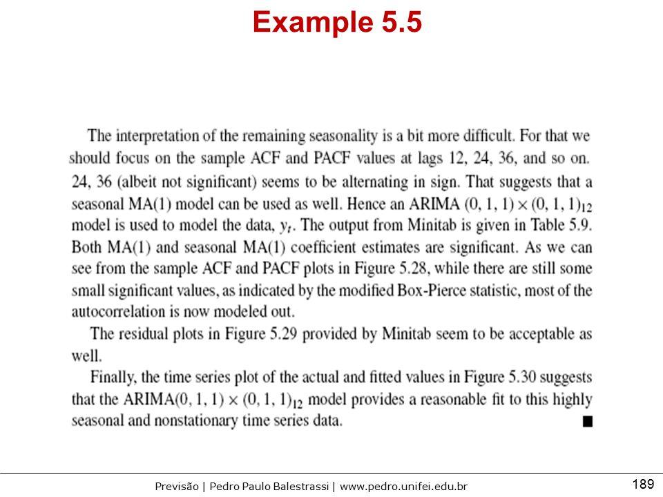 189 Previsão | Pedro Paulo Balestrassi | www.pedro.unifei.edu.br Example 5.5