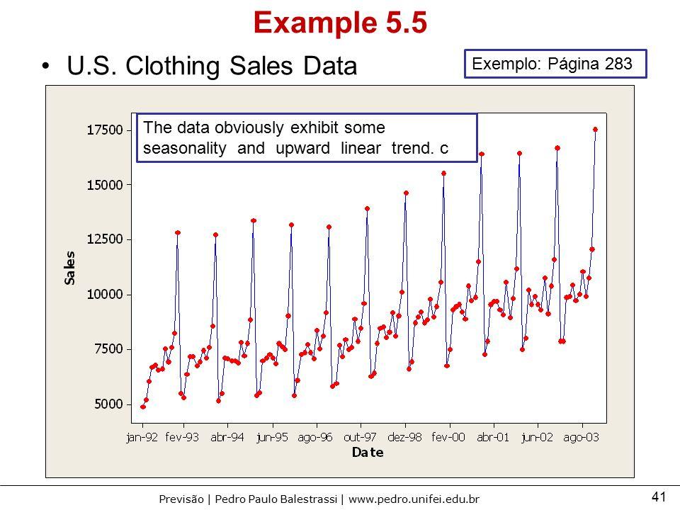 41 Previsão | Pedro Paulo Balestrassi | www.pedro.unifei.edu.br Example 5.5 U.S. Clothing Sales Data The data obviously exhibit some seasonality and u