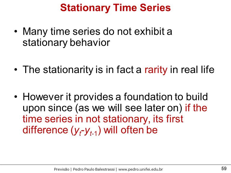 59 Previsão | Pedro Paulo Balestrassi | www.pedro.unifei.edu.br Stationary Time Series Many time series do not exhibit a stationary behavior The stati