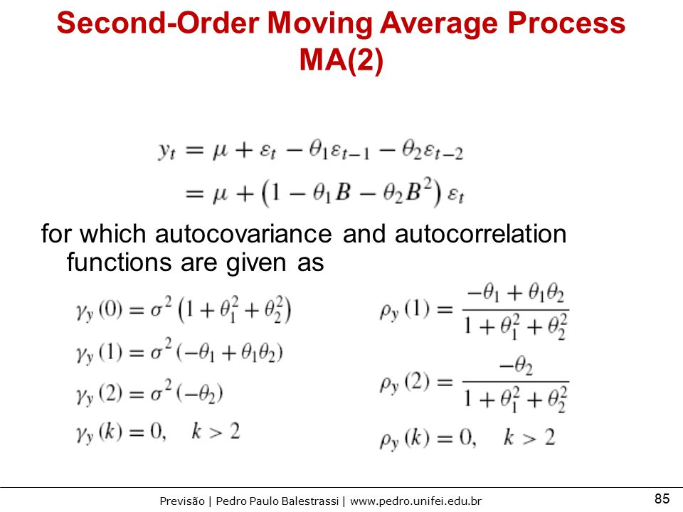 85 Previsão | Pedro Paulo Balestrassi | www.pedro.unifei.edu.br Second-Order Moving Average Process MA(2) for which autocovariance and autocorrelation