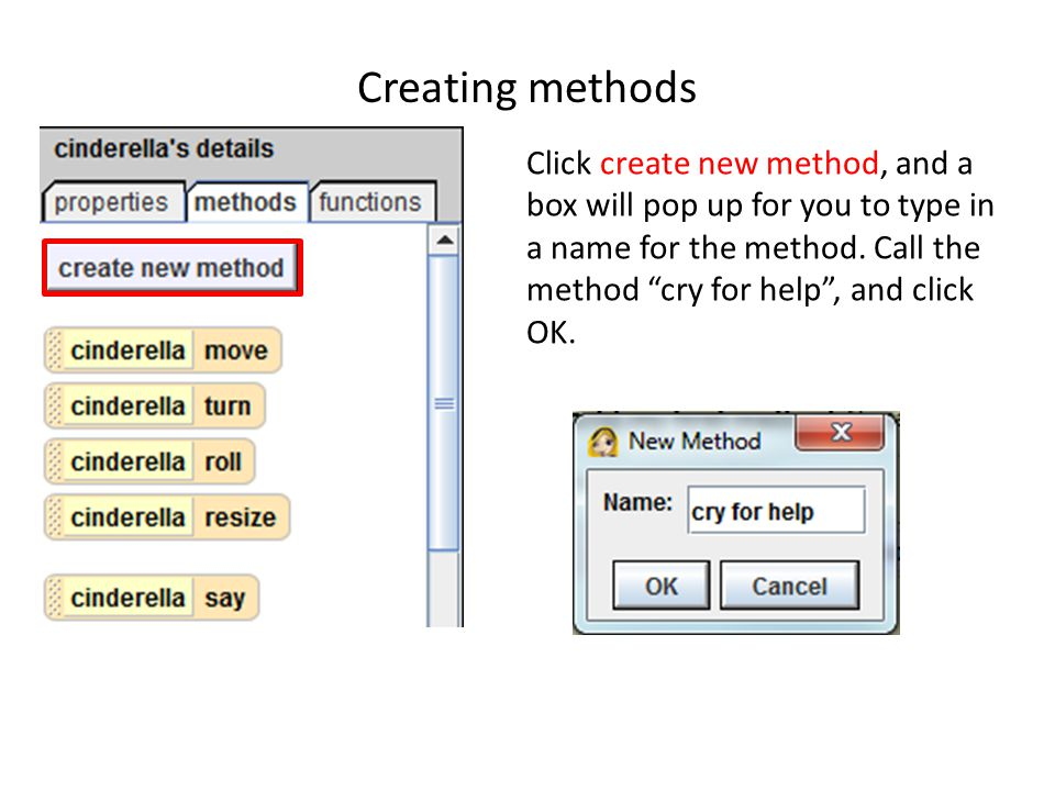 Creating methods Click create new method, and a box will pop up for you to type in a name for the method.
