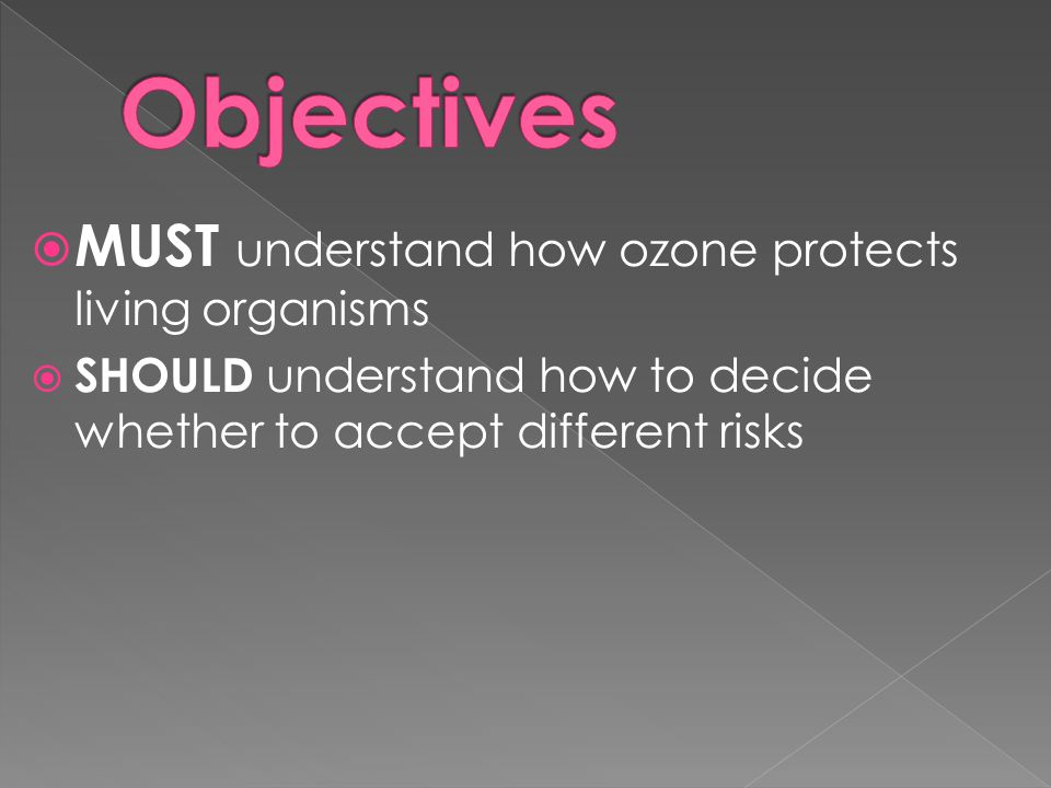 MUST understand how ozone protects living organisms  SHOULD understand how to decide whether to accept different risks