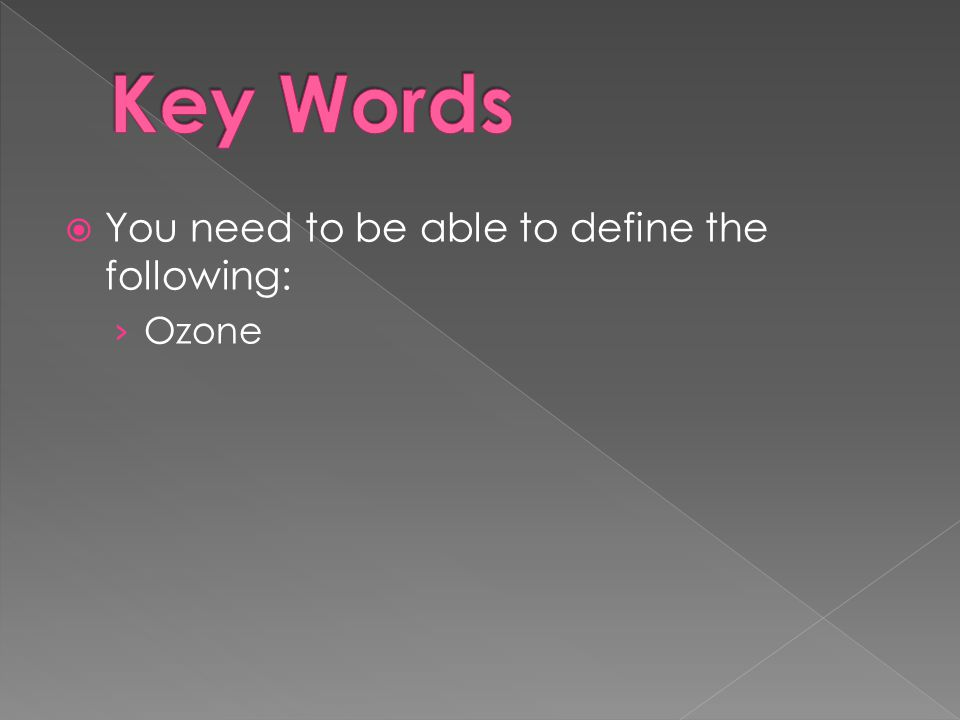  You need to be able to define the following: › Ozone