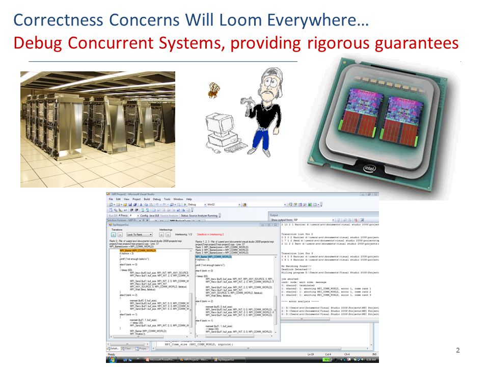 Correctness Concerns Will Loom Everywhere… Debug Concurrent Systems, providing rigorous guarantees 2