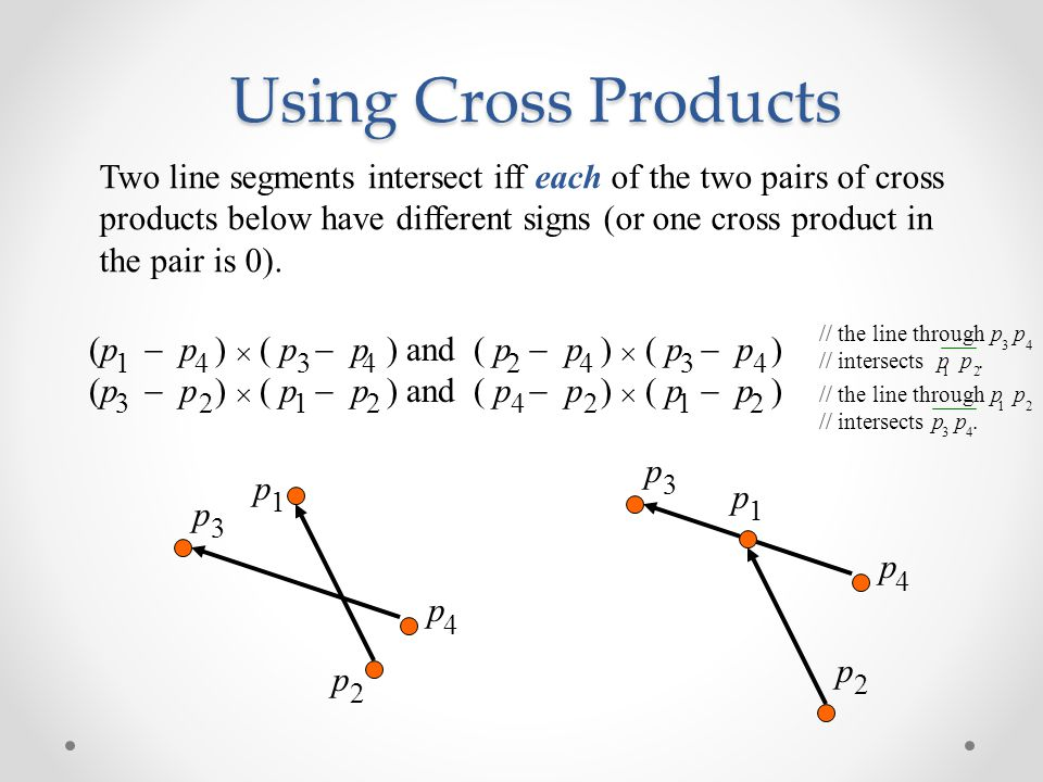 Using Cross Products p p 1 2 p p 3 4 Two line segments intersect iff each of the two pairs of cross products below have different signs (or one cross product in the pair is 0).