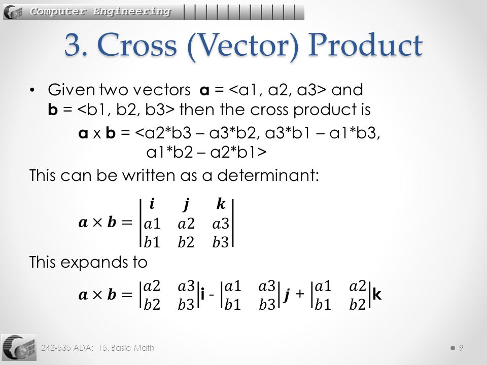 242-535 ADA: 15. Basic Math9 3. Cross (Vector) Product
