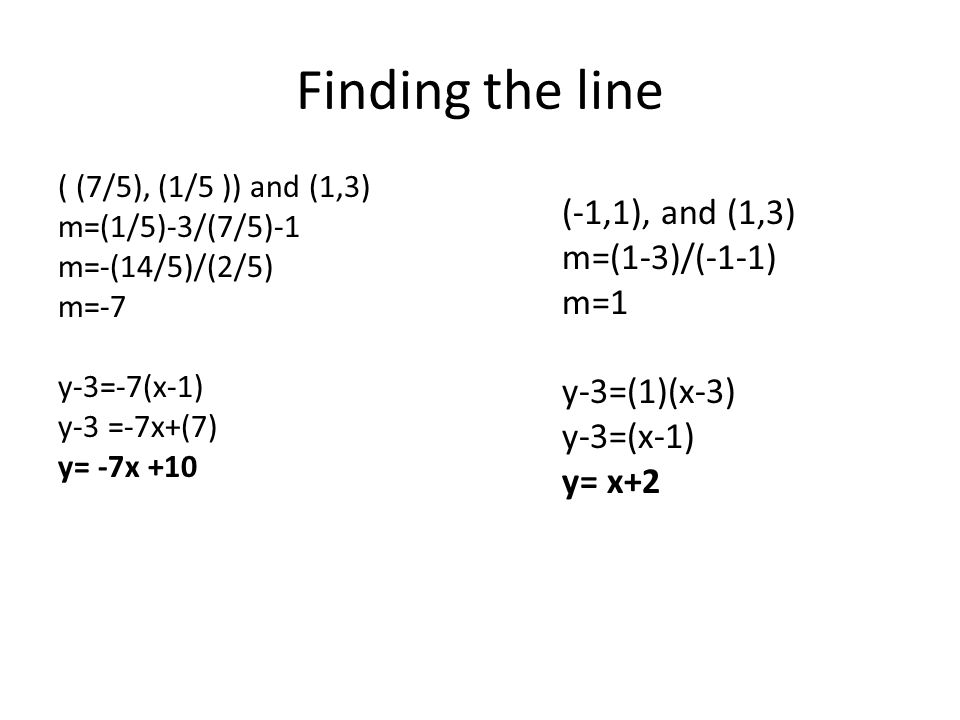 Finding the line ( (7/5), (1/5 )) and (1,3) m=(1/5)-3/(7/5)-1 m=-(14/5)/(2/5) m=-7 y-3=-7(x-1) y-3 =-7x+(7) y= -7x +10 (-1,1), and (1,3) m=(1-3)/(-1-1) m=1 y-3=(1)(x-3) y-3=(x-1) y= x+2