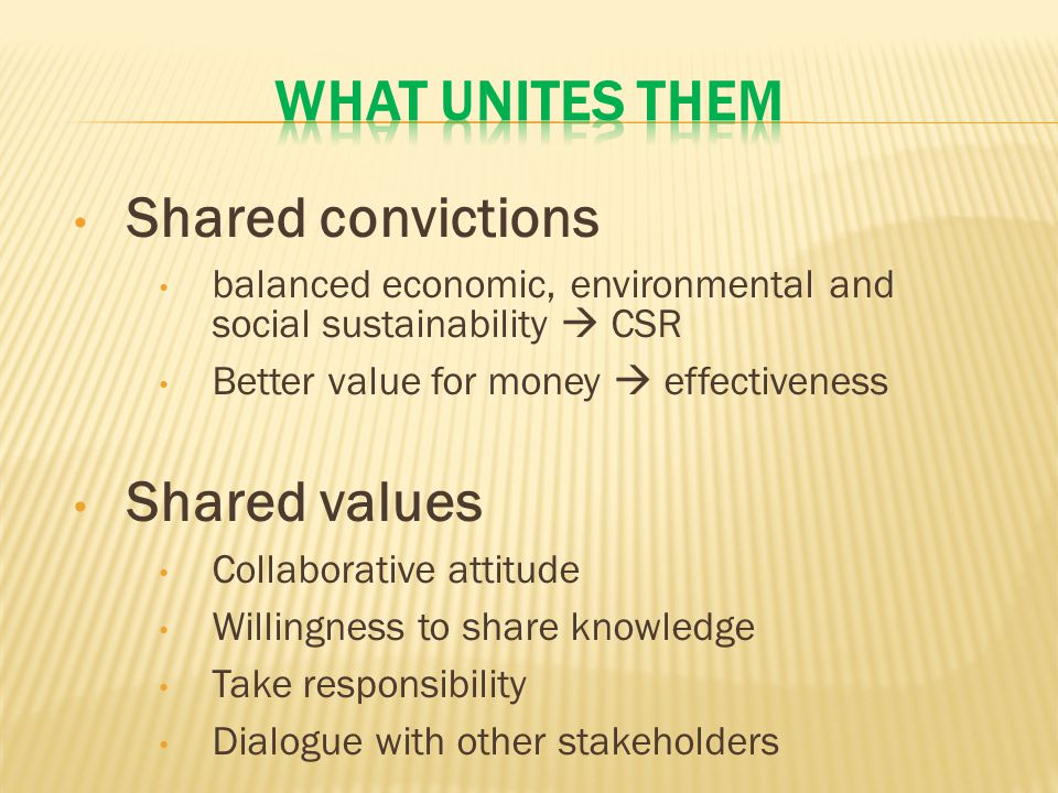 Shared convictions balanced economic, environmental and social sustainability  CSR Better value for money  effectiveness Shared values Collaborative attitude Willingness to share knowledge Take responsibility Dialogue with other stakeholders