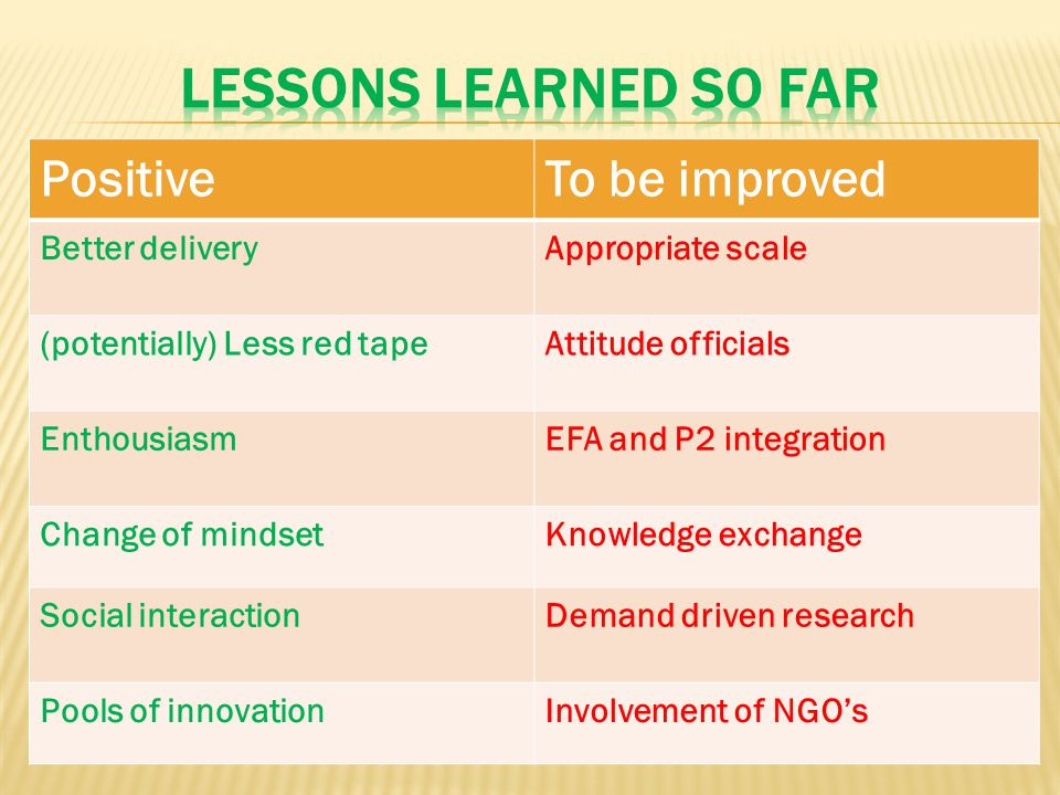 PositiveTo be improved Better deliveryAppropriate scale (potentially) Less red tapeAttitude officials EnthousiasmEFA and P2 integration Change of mindsetKnowledge exchange Social interactionDemand driven research Pools of innovationInvolvement of NGO's