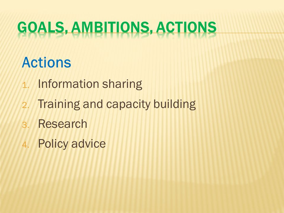 Actions 1. Information sharing 2. Training and capacity building 3. Research 4. Policy advice