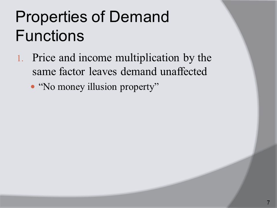 Properties of Demand Functions 1.