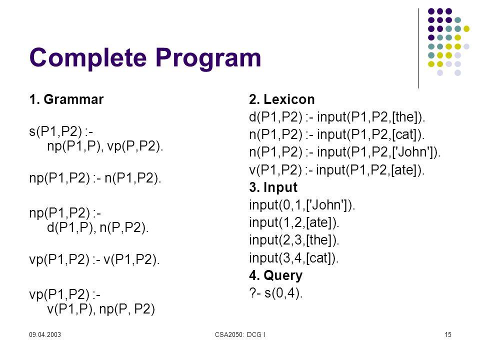 09.04.2003CSA2050: DCG I15 Complete Program 1. Grammar s(P1,P2) :- np(P1,P), vp(P,P2).