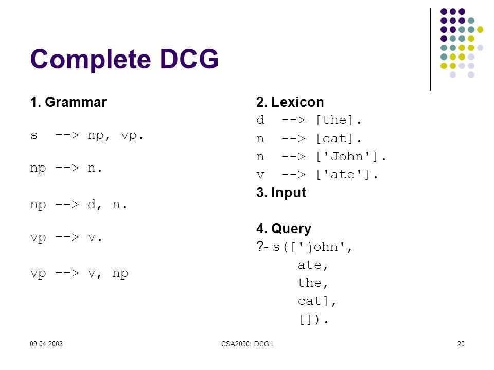 09.04.2003CSA2050: DCG I20 Complete DCG 1. Grammar s --> np, vp.
