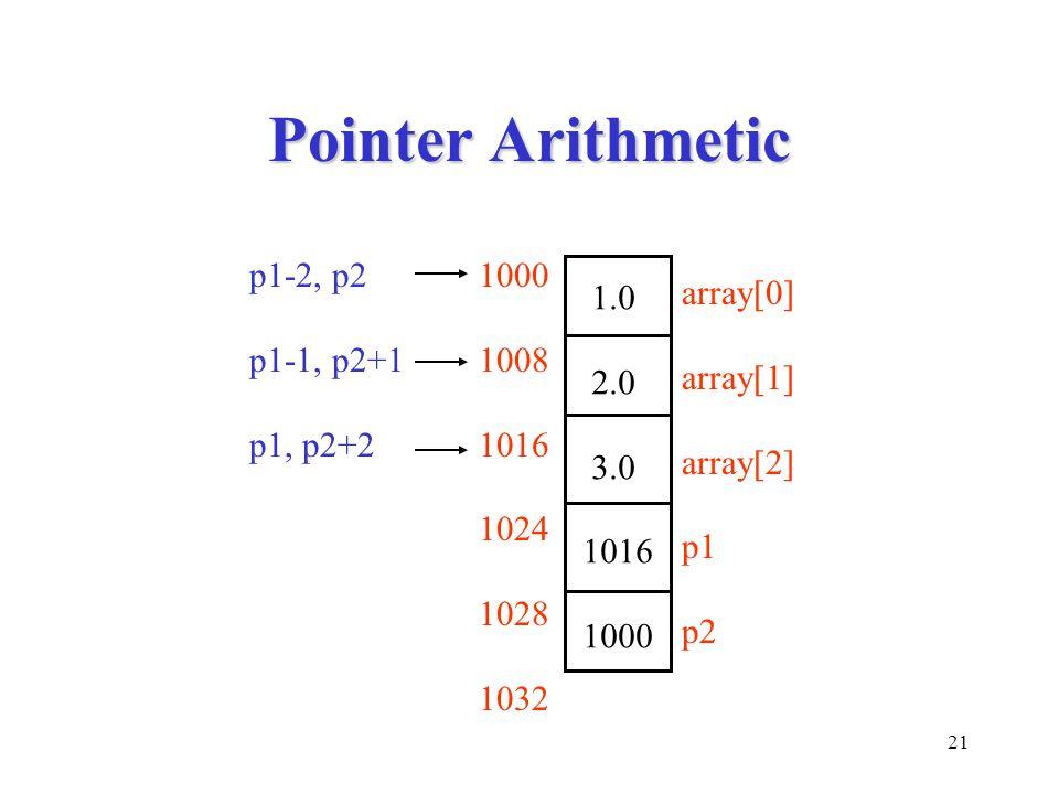 21 Pointer Arithmetic 1.0 2.0 3.0 1016 1000 1008 1016 1024 1028 1032 array[0] array[1] array[2] p1 p2 p1-2, p2 p1-1, p2+1 p1, p2+2