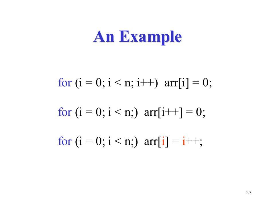 25 An Example for (i = 0; i < n; i++) arr[i] = 0; for (i = 0; i < n;) arr[i++] = 0; for (i = 0; i < n;) arr[i] = i++;