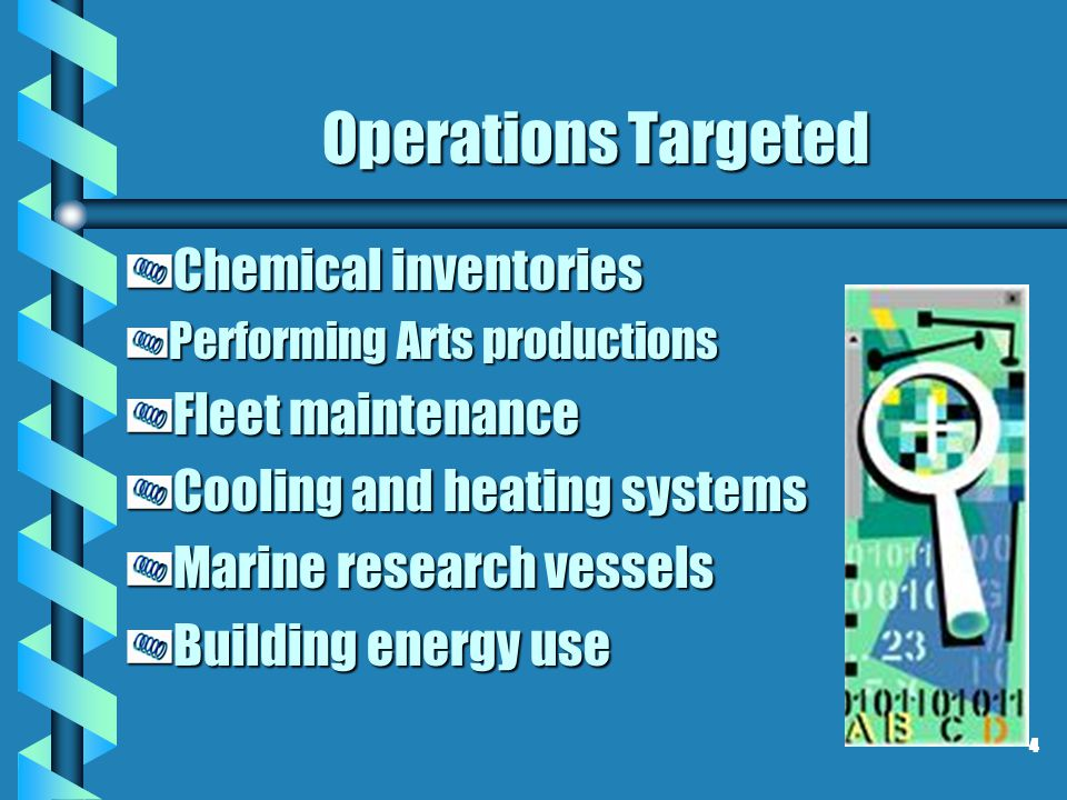 Operations Targeted Chemical inventories Performing Arts productions Fleet maintenance Cooling and heating systems Marine research vessels Building en
