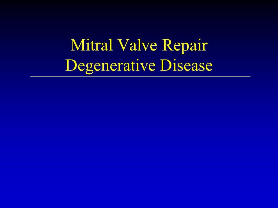 Case #1 Degenerative Mitral Repair u u 49 year old with known myxomatous mitral valve disease and mitral regurgitation.