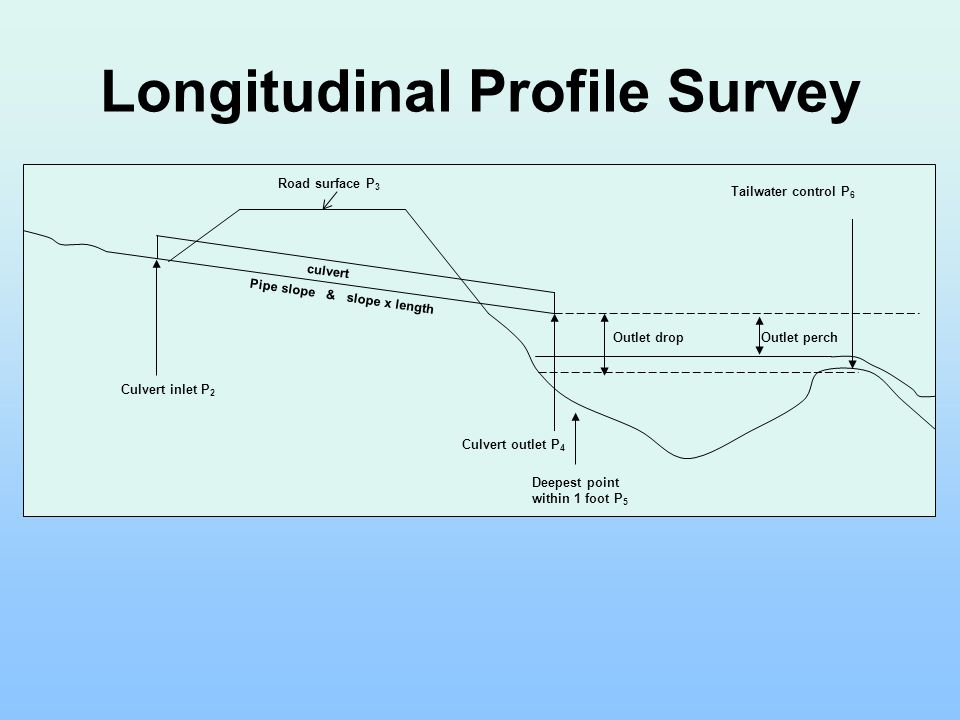 Longitudinal Profile Survey Culvert inlet P 2 Culvert outlet P 4 Tailwater control P 6 Deepest point within 1 foot P 5 Outlet drop Road surface P 3 cu