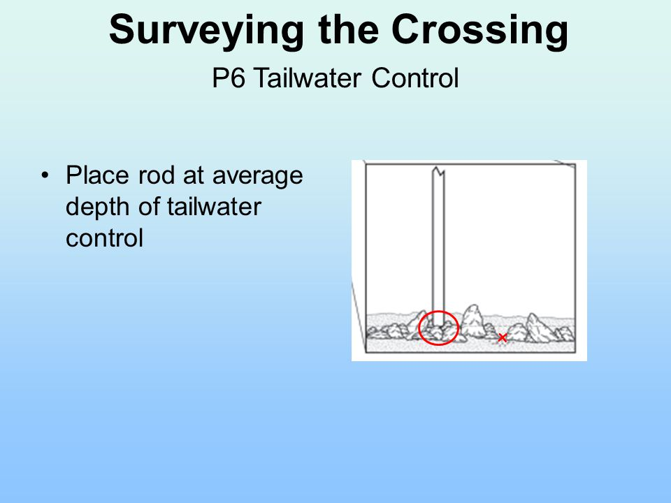 Place rod at average depth of tailwater control x Surveying the Crossing P6 Tailwater Control