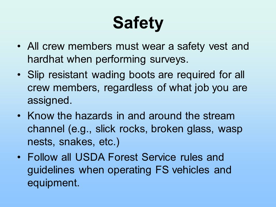 Safety All crew members must wear a safety vest and hardhat when performing surveys. Slip resistant wading boots are required for all crew members, re