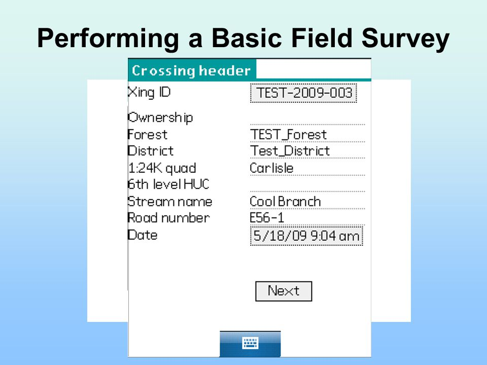 Performing a Basic Field Survey
