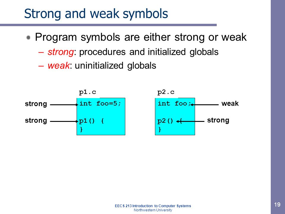 EECS 213 Introduction to Computer Systems Northwestern University 19 Strong and weak symbols Program symbols are either strong or weak –strong: procedures and initialized globals –weak: uninitialized globals int foo=5; p1() { } int foo; p2() { } p1.cp2.c strong weak strong